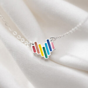Lantisor argint 925 inimioara multicolora